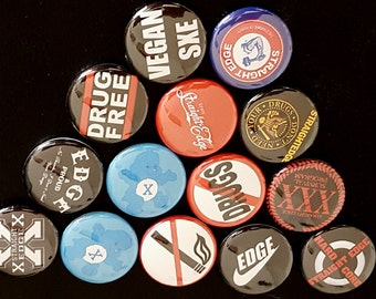 "14 Straighedge 1"" Buttons/Pinbacks/Badges Rare Punk Edge SXE XXX Hardcore Classic"