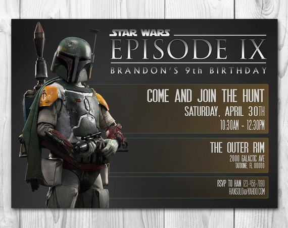 Star Wars Birthday Greeting Free ~ Star wars invitation boba fett invitation star wars