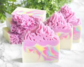 Unicorn Soap - Unicorn Birthday Soap - Rainbow Soap - Colorful Soap Favor - Pretty Soap - Frosting Soap - Rainbow Gift - Unicorn Party Decor