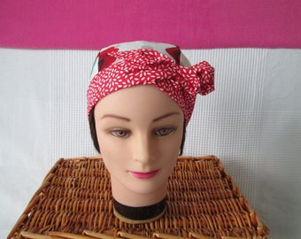 Scarf, chemo turban headband pirate woman with roses