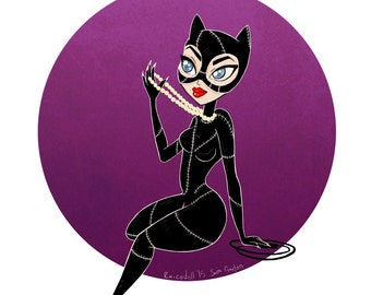 CLEARANCE! Catwoman Pin-up Art Print- 4x6