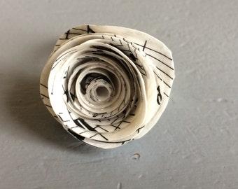 Handmade, music paper flower ring.