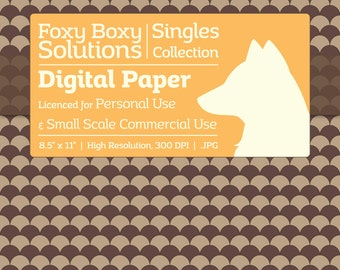 Scale Pattern on Kraft Digital Paper - Single Sheet in Brown - Printable Scrapbooking Paper