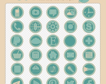 Set of 30 round turquoise digital social media icons on a transparent background, 4 different sizes: 256 px, 128 px, 72 px, 48 px X 72 dpi