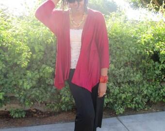 Drape Cardigan,  Lightweight Knit Cardigan, Three Quarter Bat Wing Knit Jacket, Open Front Wrap Cardigan - All Sizes / Color Options