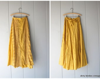 Ethnic Print Yellow Wrap Skirt 70s Cotton Maxi Skirt High Waist Boho Hippie Spring Summer Tribal Skirt Womens Small Medium