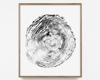 log ring print, tree ring print, wood ring art, log ring art, tree ring art, autumn print, wood décor, tree print, forest art, log print