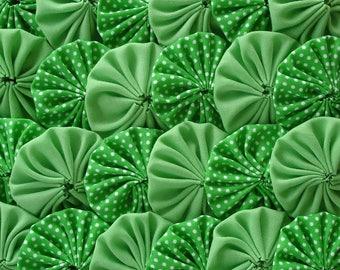 Polka Green Fabric Yo Yo Quilt Applique Suffolk Puff Scrapbook