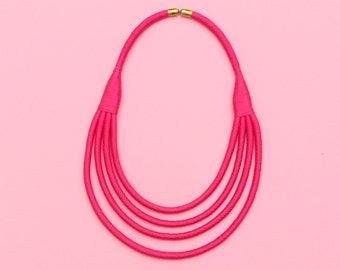 Hot Pink Statement Necklace, Fuchsia Rope Necklace, Fabric Necklaces For Women