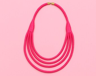 Hot Pink Statement Necklace, Fuchsia Rope Necklace, Multi Strand Textile Necklace, Colorful Layered Fabric Necklace, Summer Jewelry