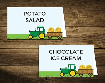 """Tractor Birthday Food Tent Cards, Editable Food Tags, Tractor Food Labels, Printable Place Cards, John Deere Birthday Decorations, 3"""" x 3.5"""""""