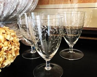 Fostoria Feather Etched Iced Tea Glasses Vintage Crystal Set 3 ~ #M2057