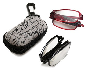 Oval TR90 Frame Compact Fold Up Folding Rimmed Foldable Reading Glasses w/Case Black Snap Case