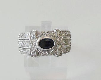Art Deco Style ring, size 9, blue sapphire, CZ, large band