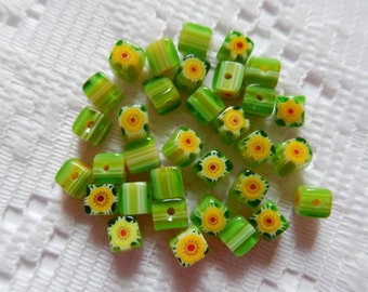 33  Lime Green Yellow & Red Striped Cube Millefiori Flower Lampwork Glass Beads  4mm