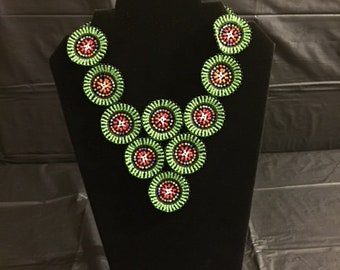 African Circle Beaded Necklace/Ceremonial Necklace/Maasai Beaded Necklace