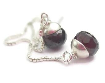 Threader Earrings Natural Garnet and Sterling Silver Long Red Gemstone Ear Threads January Birthstone