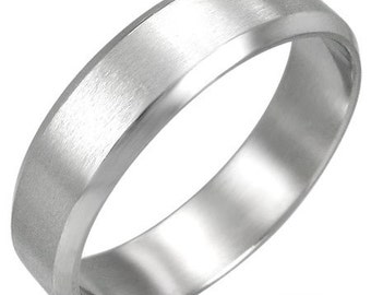Personalized Stainless Steel 2-Tone Beveled Edge Ring - Free Engraving