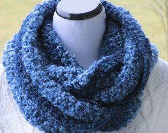 Hand-Crochet Infinity Scarf, Shades of Dk Blue,Lt Blue and Grays, Ready To Ship, Woman's Gift Idea, Hannahs Homestead2