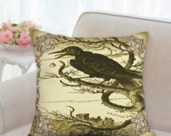 Raven Halloween Pillow