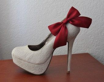 Burgundy Ribbon Bow Shoe Clips - 1 Pair