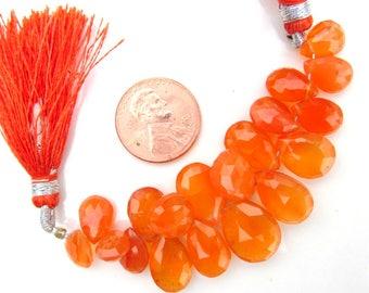 Faceted Carnelian Briolette Beads Bulk Lot Jewelry Supply Teardrop Focal Beads