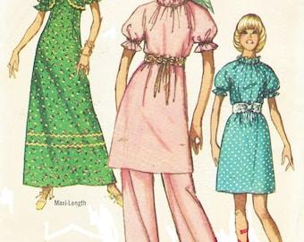 70s Womens Mini or Maxi Dress, Pants and Bolero Simplicity Sewing Pattern 9154 Size 14 Bust 36 Boho Tunic and Pants