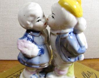 Vintage Porcelain Figurine - Boy and Girl Kissing