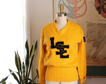 1980 vintage cheerleader sweater SALE . yellow wool sweater with high school patches, womens size small
