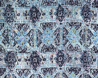 Printed Jackquard Weaving Look(Light Blue)-Rayon Hand Printed-Fabric1980s-DIY-Multi crafts purpose-Clothing- dress-table cloth-1y80cm