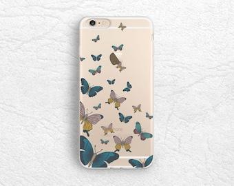 Vintage Butterfly transparent clear phone case for iPhone 7 Plus, Samsung S8, LG G6, Nexus 5X, Nexus 6P, Google Pixel, Sony Xperia XZ -P98