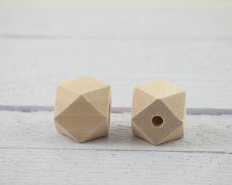 5 x 0.8'' (20mm) Wooden Geometric beads, Unfinished, Faceted, for rattles, lactating nursing necklaces, teething toys, DIY