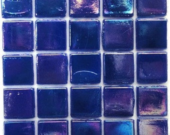 "15mm (3/5"") Cobalt Prussian Blue IRIDESCENT Glass Mosaic Tiles//Blue Green Mosaic Tiles//Mosaic Supplies/Mosaic//Crafts"