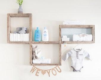 Reclaimed rustic wooden nursery wall display shelf