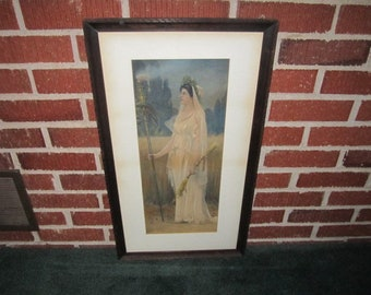 Antique 19c Large Framed Colored Lithograph THESMORPHIA by Francis Davis Millet