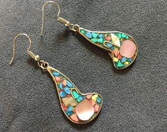 Confetti earrings, Pearl shell abalone/paua shell earring, edge concha madreperla, Christmas gift