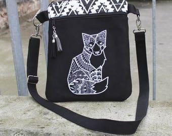 Shoulder bag, embroidery fox, imitation suede
