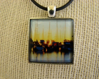 Resin Pendant, Sunset, Blue, Yellow, Black, Boats 1 inch, Square, For Her