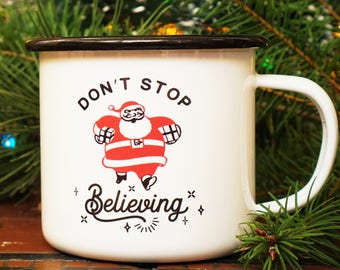 Don't Stop Believing Funny Retro Christmas Mug