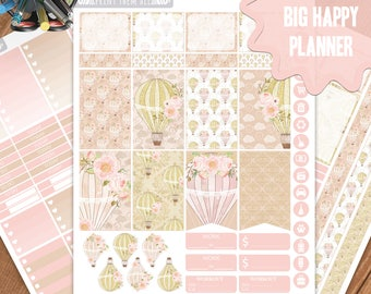 Hot Air Balloon Planner Stickers Printable, Big Happy Planner Stickers, Weekly Planner Kit, Planner Stickers, Big MAMBI Planner Stickers