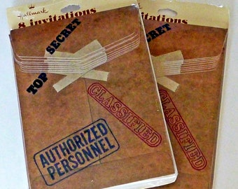 Party Invitation Cards - Lot of 16 Vintage Invitations For A Surprise Party - Top Secret Party Invitations - Paper Ephemera