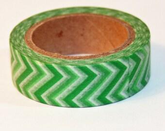 Green, Lime Green and White Chevron Washi Tape