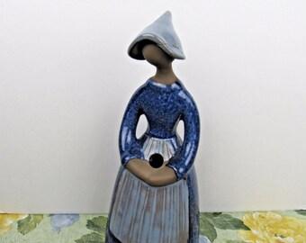 1 ELSI BOURELIUS Sweden JIE Girl Woman Bud Vase 7 1/2 Inch Blue Dress Apron