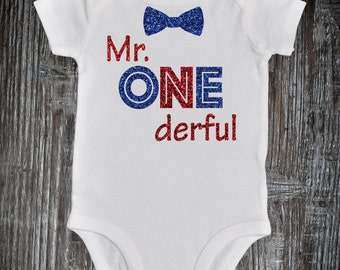 Mr. Onederful Bowtie Red Blue White | Memorial Day 1st birthday bodysuit | 4th of July Birthday Boy outfit