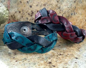 Leather braided bracelet, choice of colors, handstamped braided mystery bracelet, red and black or blue and black, leather braided cuff