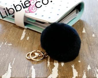 Black Fur Pom Pom Keychain or Planner Accessory!!!