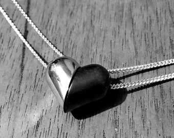 Silver Magnetic Heart Pill Necklace