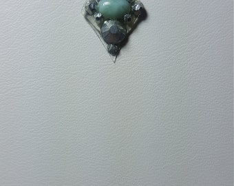 Larimar, silver crystal bindi.