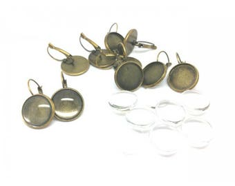 10 round 16mm and 10 glass Cabochons 16mm Bronze Stud Earrings