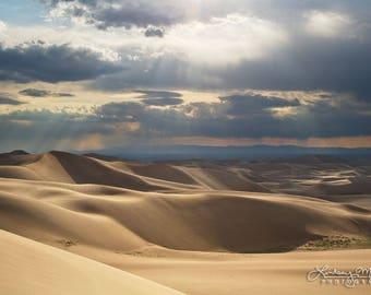 "Great Sand Dunes Photo | ""Sand Dunes Sunbeams"" | Great Sand Dunes National Park Print - Colorado Sand Dunes Wall Art - Colorado Landscape"